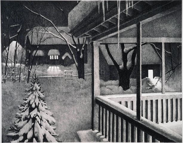 Winter Twilight, Kyra Markham 1935, lithograph. Detroit Institute of Arts