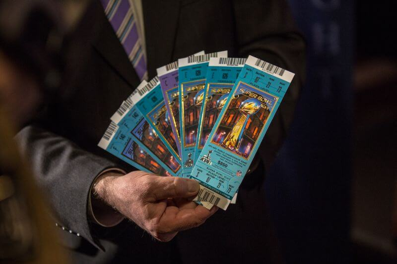 Counterfeit Super Bowl tickets shown at IPR Press Conference (ti