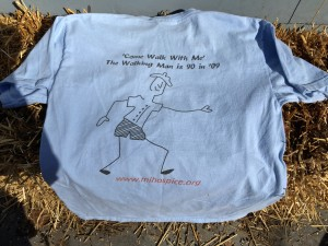 My favorite blue-sky-color 'Come Walk With Me' tee, artwork by Lauried McDowell, sister of Lynne McLean. We loved helping with Clayton Klein's walks from Paradise, MI to Hell and Beyond for hospice and we loved our 'Walking Man'