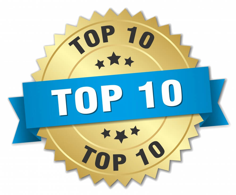 top 10 3d gold badge with blue ribbon