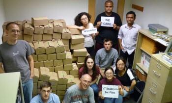 Virginia volunteers with test kits