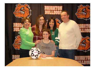 Brighton's Delaney Bussey poses with her family after signing a soccer letter-of-intent with the University of South Carolina-Upstate last week. She was one of seven  Brighton athletes to sign on Feb. 3. (Photos courtesy of Brighton High School athletics)