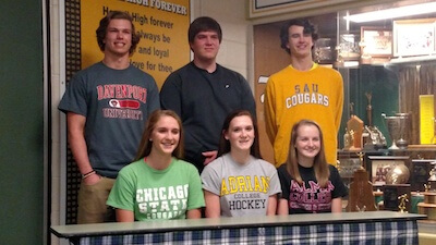 Six Howell athletes posed for photos on national signing day on Wednesday. They include (front low, from left) Miranda Coen, Maggie Mitter, Bailey Barnes, (second row) Trevor Wetzel, Dan Collins and Brian D'Ascenzo. (Photo courtesy Howell High School)
