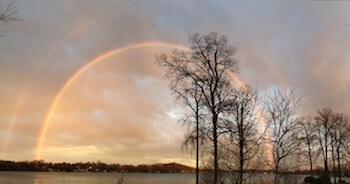 A double rainbow over Lake Chemung, taken on March 31. (Photo by Tim Robinson)