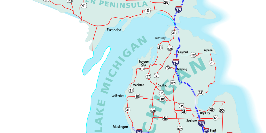 Michigan state road map with Interstates, U.S. Highways and state roads. All elements on separate layers for easy editing. Map created November 26, 2009.  ZIP File contains EPS-8 Adobe Illustrator file, Illustrator CS3 file, and large JPG file, 5000x4828. Source: Public domain National Planning Network (http://www.fhwa.dot.gov/planning/nhpn/) and United States Federal Highway Administration (http://www.fhwa.dot.gov/) maps.