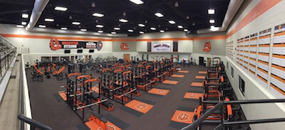 A panoramic view of the new Brighton High School weight facility, taken during a media availability on Wednesday. (Photo by Tim Robinson)