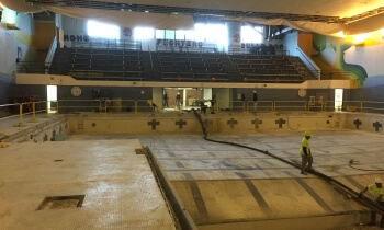 A look from the south end of the Brighton High School pool during its conversion to a weight facility. Work took five months. (Photo courtesy of Brighton Area Schools)