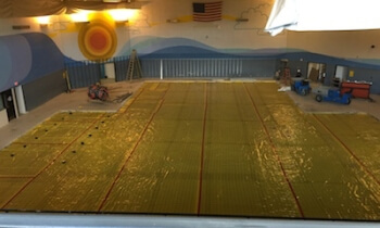 A look at the former pool after it was filled in. (Photo courtesy Brighton Area Schools)