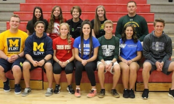 Gabriel Wink (Ohio U.) Field Hockey, Alexa Bloom (Saginaw Valley State U. ) Swimming, Emma Kehn (Clarion U.) Diving, Ellen Rapp (Northern U.) Dance, Bryce Heatwole (Northern U.) Football, Peyton Kerns ( U of M Flint) Hockey, Zach Harwood (U of M Flint) Hockey, Jessica VanBynen (Ferris State) Track and Field, Brittany Banks (Aurora U.) Volleyball, Austin Wicker (Eastern Mich. U.) Track and Cross Country, Lynsey Jackson (Grand Valley State) Competitive Cheer, Joey Bachmeier (Hillsdale) Football. Not Pictured: Tyler Diehr (Adrian) Football, Katie Webb (SchoolCraft) Soccer, Jake Belford (Heidelberg U.) Golf, David Harris (Spring Arbor U.) Golf.