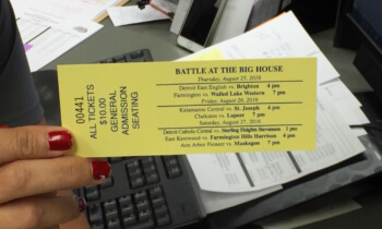 A ticket for Thursday's Brighton football game at Michigan Stadium in Ann Arbor. (Photo by Tim Robinson)