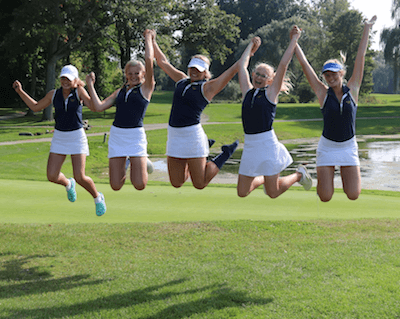 Hartland golfers, from left, Sydney Bradford, Jamie Erickson, Abby Chase, Savannah Grabowski and Sammi Behen celebrate their team's first-ever berth in the Division 1 state golf meet after finishing third in Wednesday's regional. (Photo by Tim Robinson)