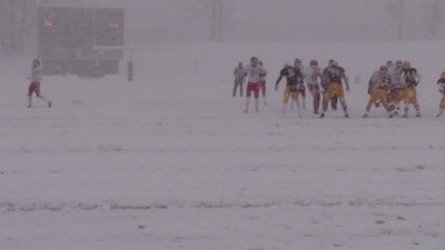 Heavy snow made playing last year's semifinal at Howell a challenge for both the teams and those trying to keep the field clear. (Photo via Howell Athletics Twitter feed)
