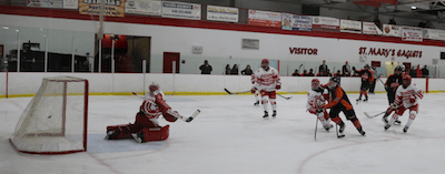 St. Mary's goalie Tanner Beals watches as a shot by Brighton's Adam Conquest beats him for the Bulldogs first goal on Wednesday. (Photo by Tim Robinson)
