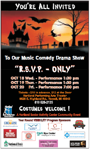 R.S.V.P. Only - Halloween Music Comedy Show @ Hartland Performing Arts Center   Howell   Michigan   United States