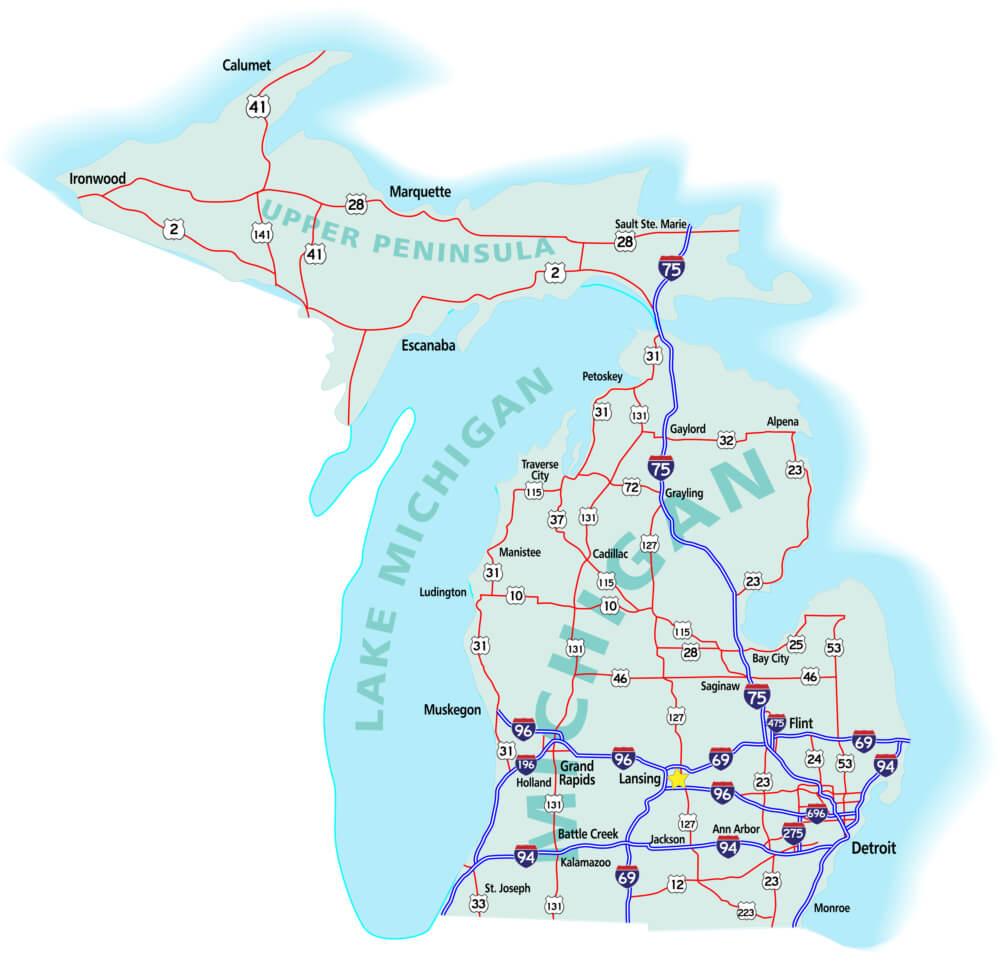 Michigan State Interstate Map