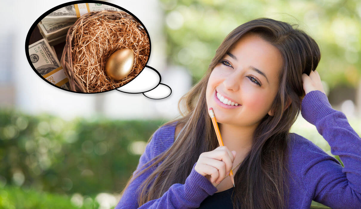 Pensive Woman with Money and Nest Egg Thought Bubble
